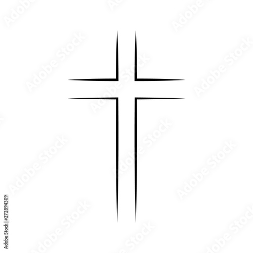 Billede på lærred Gray Christian cross icon in flat design