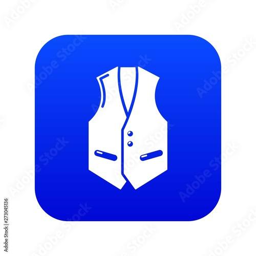 Wallpaper Mural Waistcoat icon blue vector isolated on white background