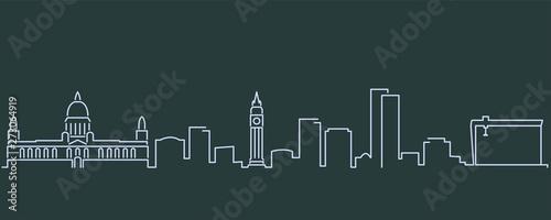 Fotografija Belfast Single Line Skyline Profile