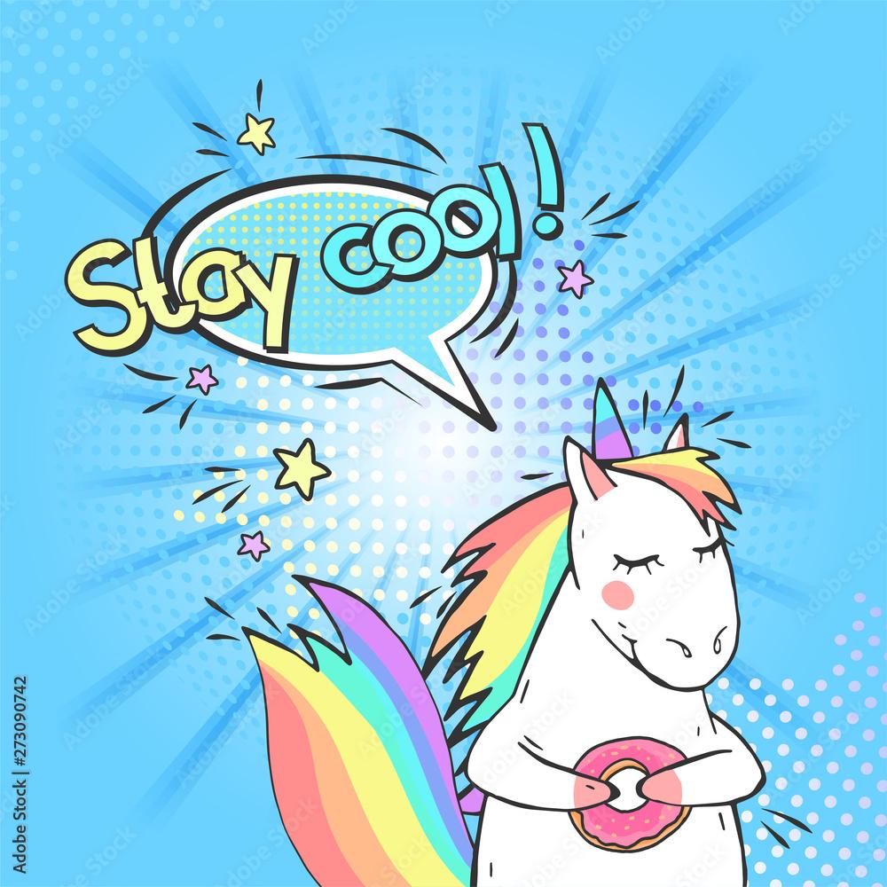 Pop art magiczny jednorożec i dymek z Keep cool! <span>plik: #273090742 | autor: nadezhdash</span>