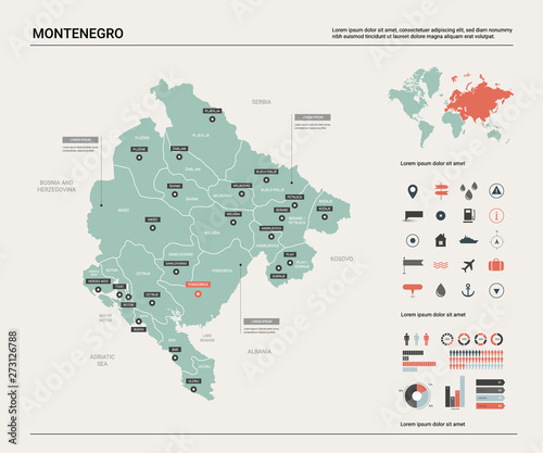 Canvas Print Vector map of Montenegro