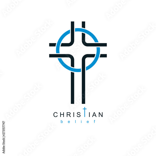 Fototapeta Christian Cross true belief in God vector symbol, Christianity religion icon
