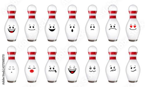 Fotografía Vector set of skittles for bowling