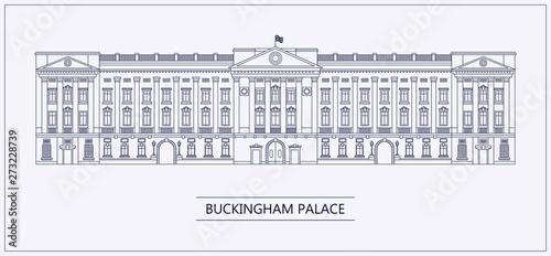 Photo London Buckingham palace outline flat vector illustration.