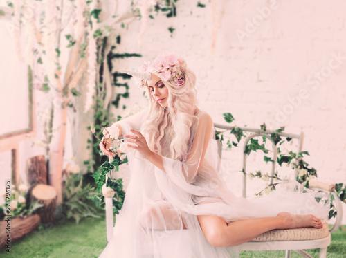 Fotografie, Obraz Wonderful creation, the girl is a unicorn in light, white, slightly transparent attire