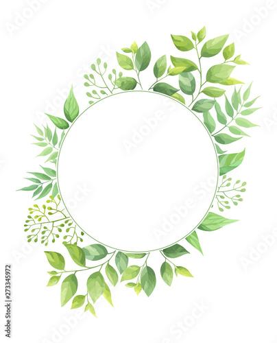 Obraz na płótnie Okrągły szablon zielonych liści