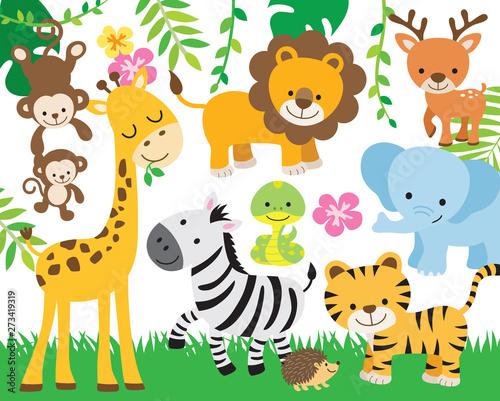 Vector illustration of cute safari animals including lion, tiger, elephant, monkey, zebra, giraffe, deer, snake, and hedgehog.