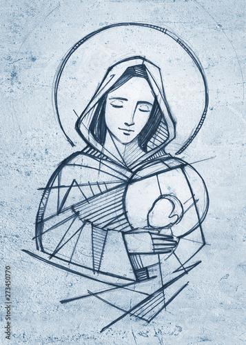 Fotografie, Obraz Virgin Mary and baby Jesus hand drawn pencil illustration