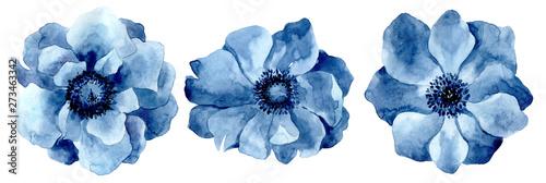 Cuadros en Lienzo Set of watercolor blue flowers