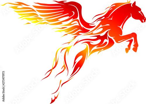 Obraz na plátně Flaming Pegasus Leap, Mythical Creature