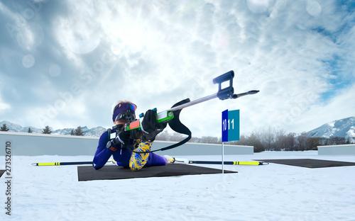 Biathlon. Skier biathlon champion. Winter Olympic sports.