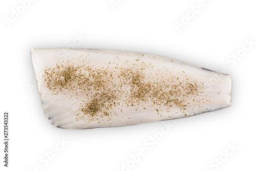 Fotografija fish halibut fillet on white background