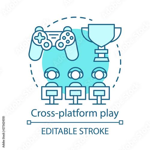 Fotografia Cross platform play, online gaming concept icon
