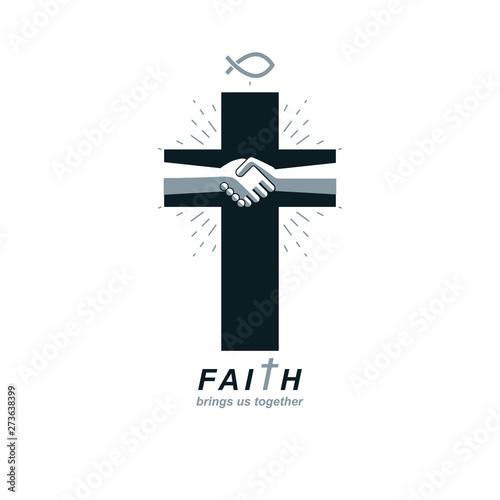 Fotografia, Obraz Christianity Cross true belief in Jesus vector symbol, Christian religion icon