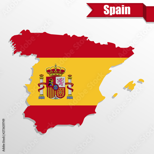 Wallpaper Mural Spain map with Spain flag inside and ribbon