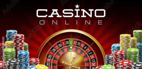 illustration Online Poker casino banner with realistic american roulette red surface table Fototapeta