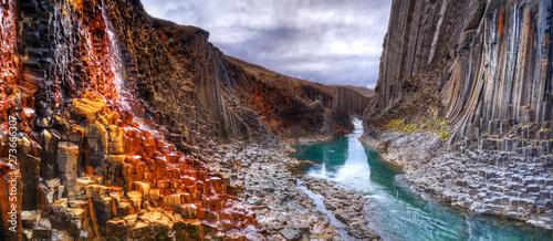 Canvastavla Studlagil basalt canyon, Iceland