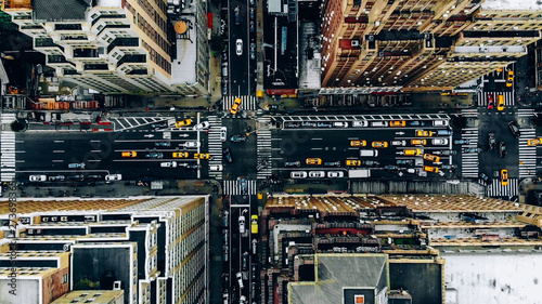 Fotografiet Aerial view of New York downtown building roofs
