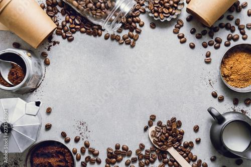 Ingredients for making coffee flat lay Fototapete