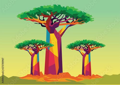 Fotografia baobab tree on wpap popart style