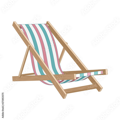 Tableau sur Toile Vector image of a beach chair. Vector image on white background.