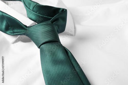Obraz na płótnie Color male necktie on white shirt, closeup