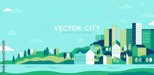 Fotografija Vector illustration in simple minimal geometric flat style - city landscape with