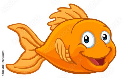Fotografie, Obraz A friendly cartoon goldfish or gold fish character