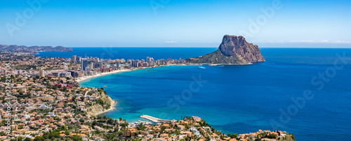 Leinwand Poster Beaches of Calpe and natural park of Penyal d'Ifac on background, Spain