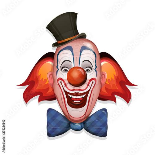 Circus Clown Face/ Illustration of a design circus clown head, with hat, red nos Tapéta, Fotótapéta