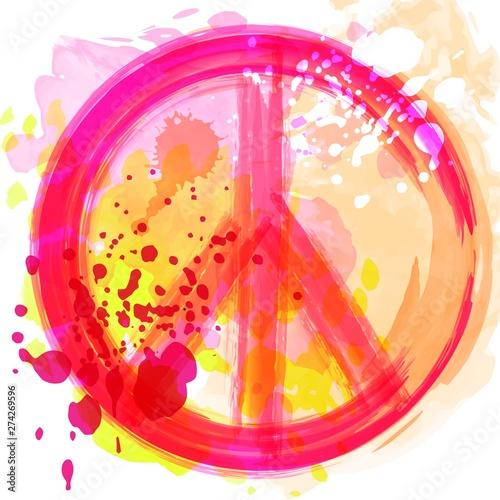 Obraz na plátně Peace Hippie Symbol over colorful background