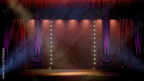 Fotografie, Tablou Dark empty stage with spot lights