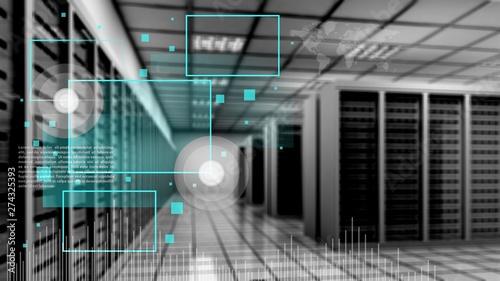 Fotografía Abstract of modern high tech internet data center room