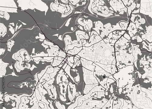 Canvas Print map of the city of Jerusalem, Israel