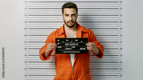 Canvas Print In a Police Station Arrested Man Getting Front-View Mug Shot