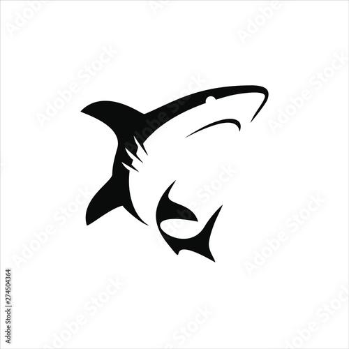 Fototapeta simple shark vector silhouette black color illustration for animal element idea