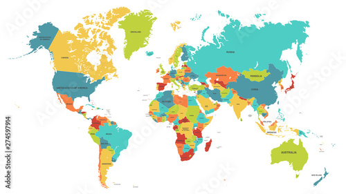 Colored world map. Political maps, colourful world countries and country names. Geography politics map, world land atlas or planet cartography vector illustration #274597914