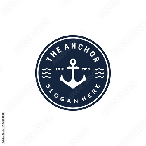 Foto emblem anchor symbol vector logo design