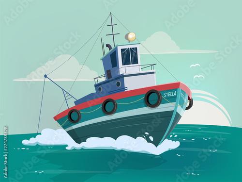 Fotografering funny cartoon illustration of a fishing boat