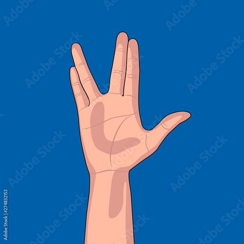Fotografia Hand gesture on blue background