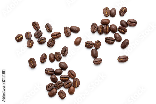 top view of coffee beans isolated on white background, Fototapete