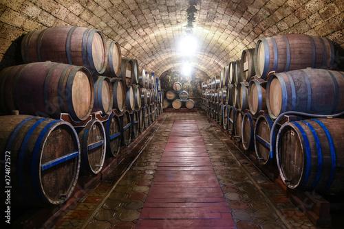 Wine cellar with oak barrels Fototapeta