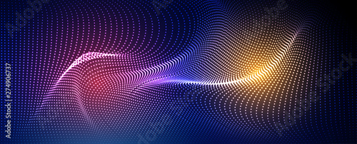 Canvastavla Abstract particle fractal background, hi-tech and big data background illustrati