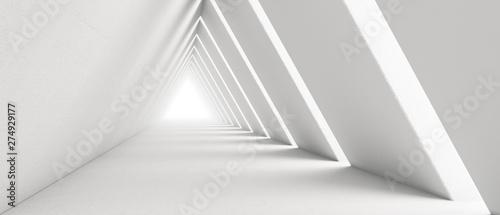 Pusty długi korytarz światła. Nowoczesne białe tło. Futurystyczny tunel Sci-Fi Triangle. Renderowanie 3D