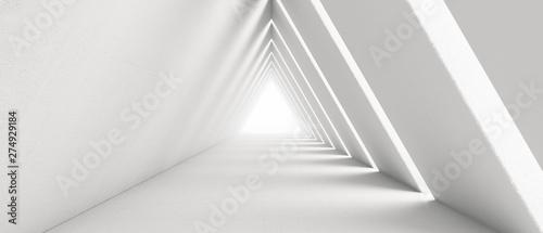 Fototapeta premium Pusty długi korytarz światła. Nowoczesne białe tło. Futurystyczny tunel Sci-Fi Triangle. Renderowanie 3D