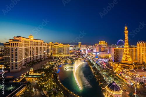 Canvas Print aerial Las Vegas at night