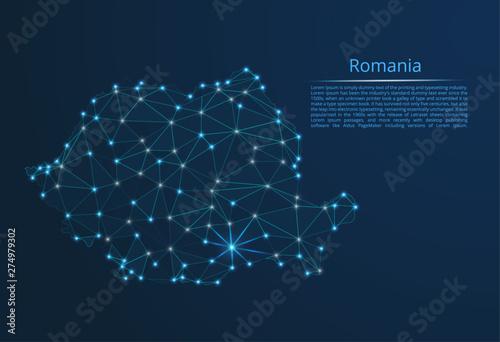 Photo Romania communication network map