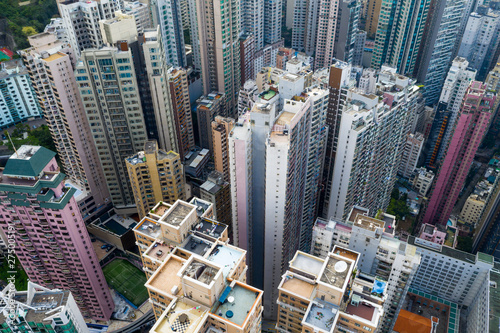 Fotografie, Obraz Top down view of Hong Kong city