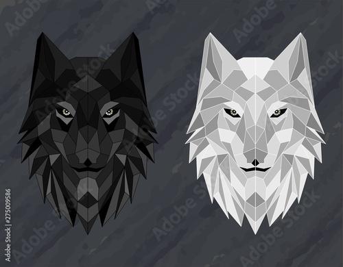 Set of Abstract polygonal wolf head Fototapeta