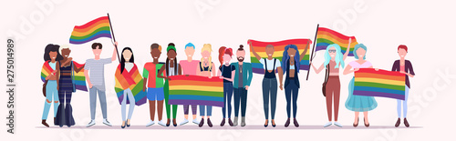 Canvas Print people group holding rainbow flag lgbt pride festival concept mix race gays lesb